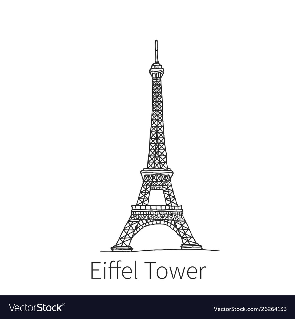 Eiffel tower drawing sketch vector