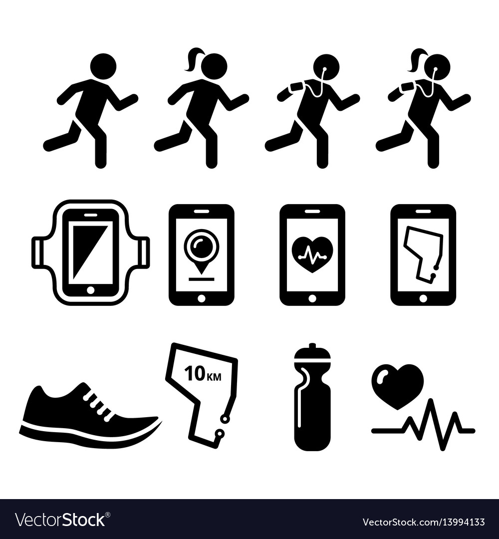 Jogging people running jogging apps icons set