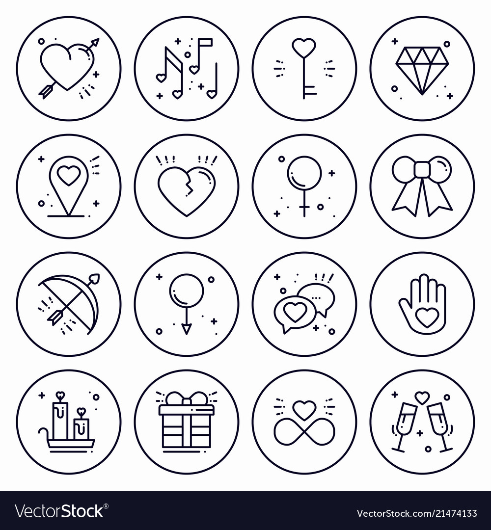 Love line icons concept set happy valentine day