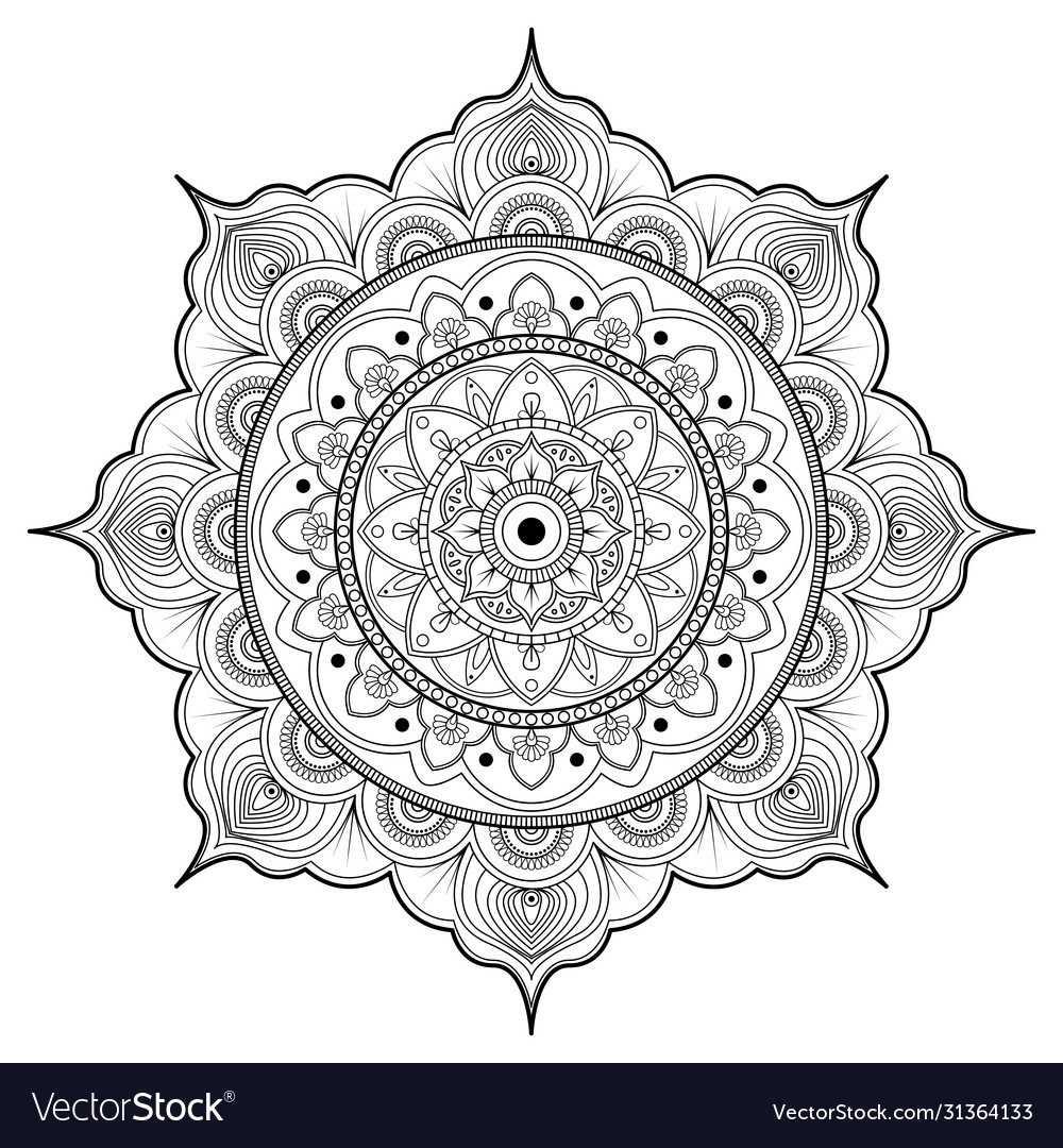 Outline drawing pattern oriental style mandala