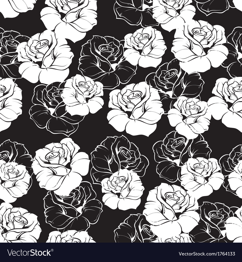 Seamless Floral Pattern With White Roses On Black Vector Image