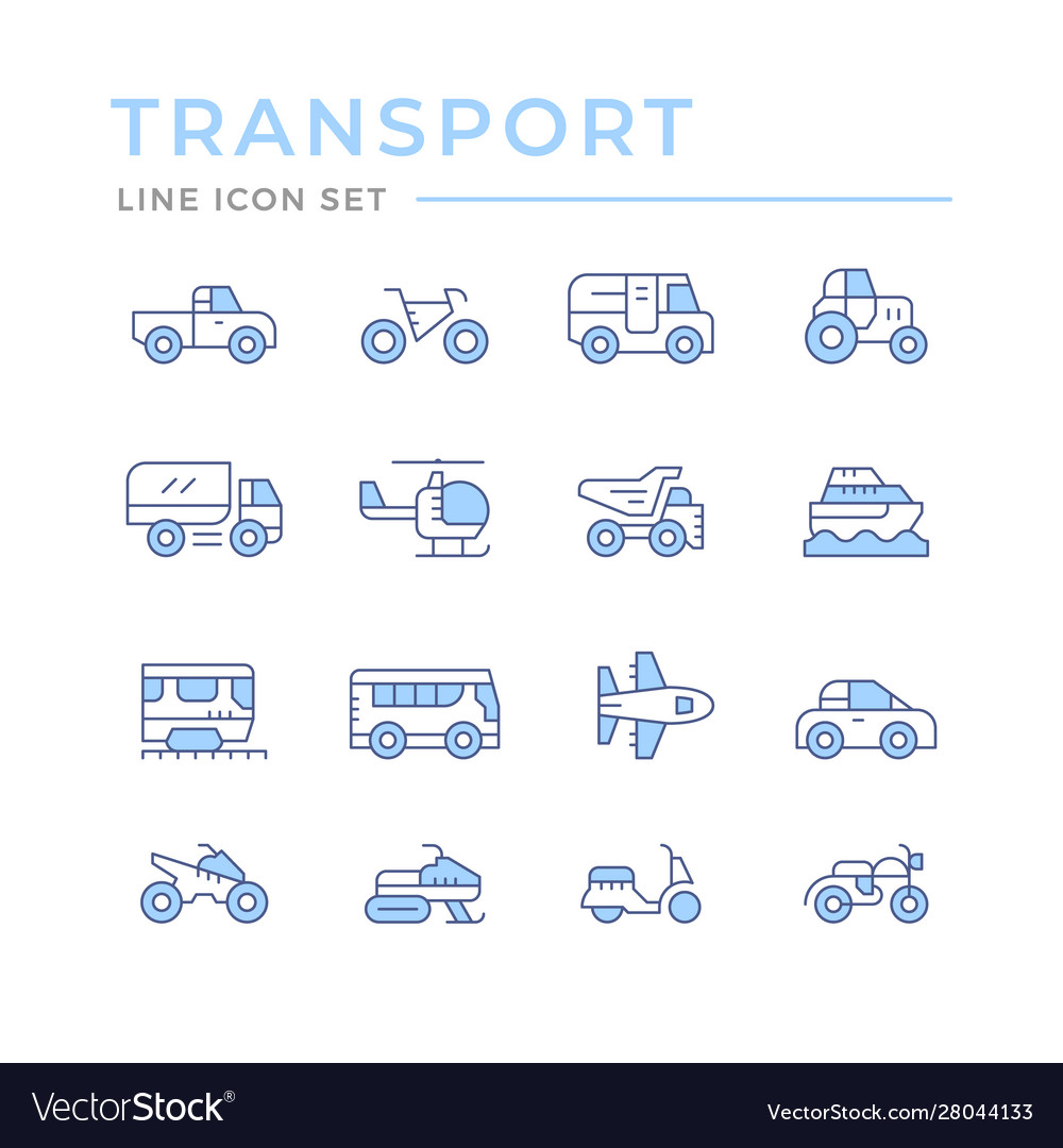 Set color line icons transport