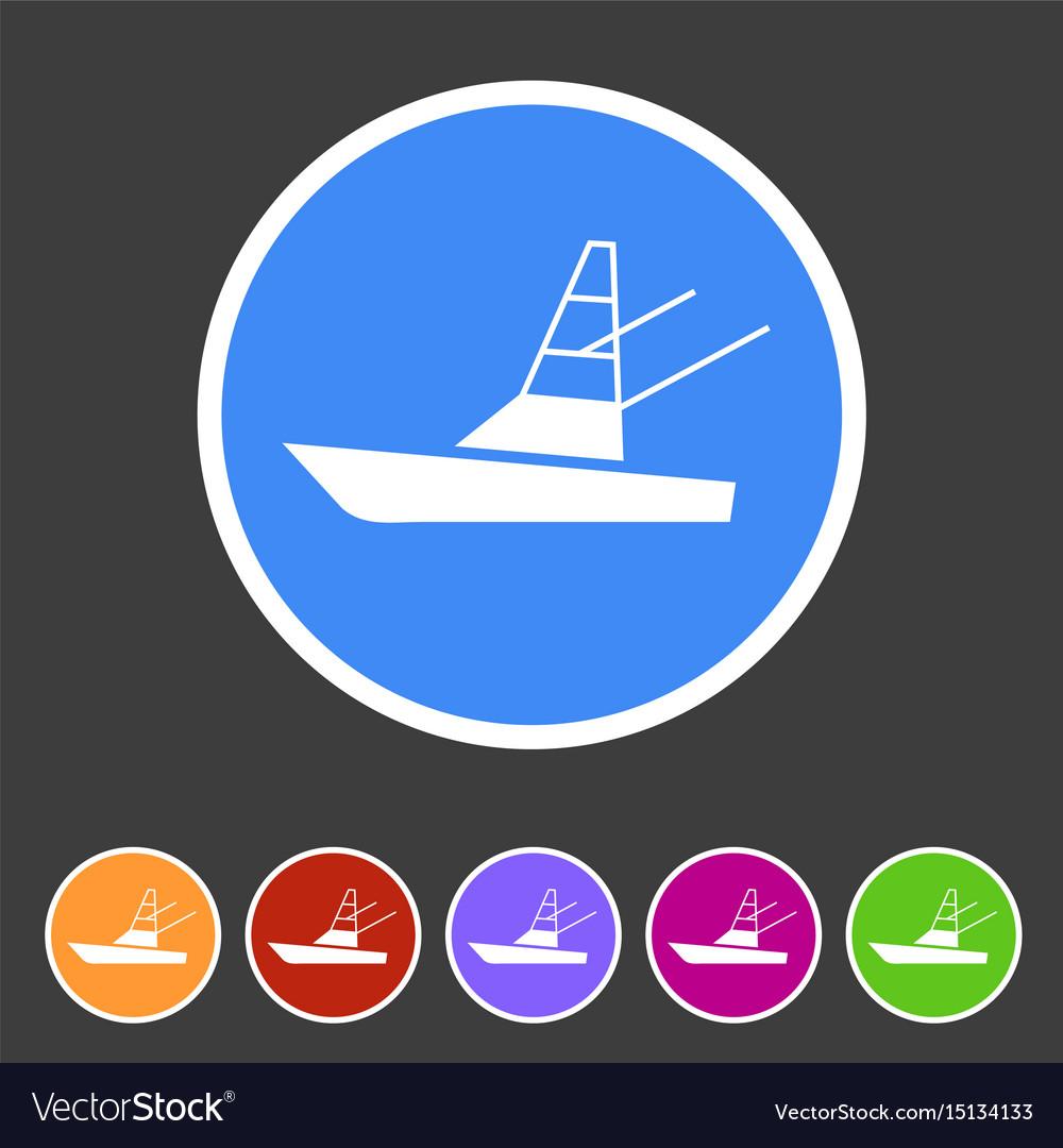 Sport fish boat yacht icon flat web sign symbol