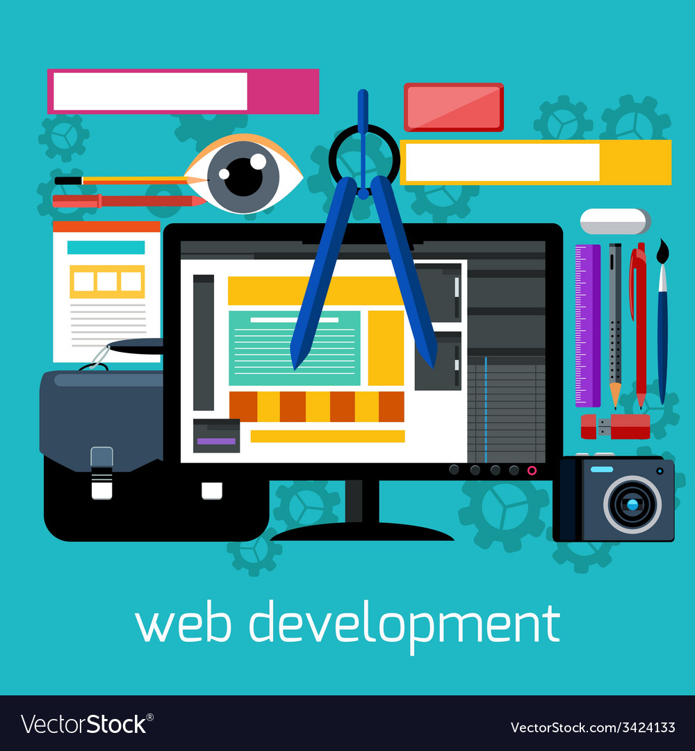 Web Design And Development Flat Concept Royalty Free Vector