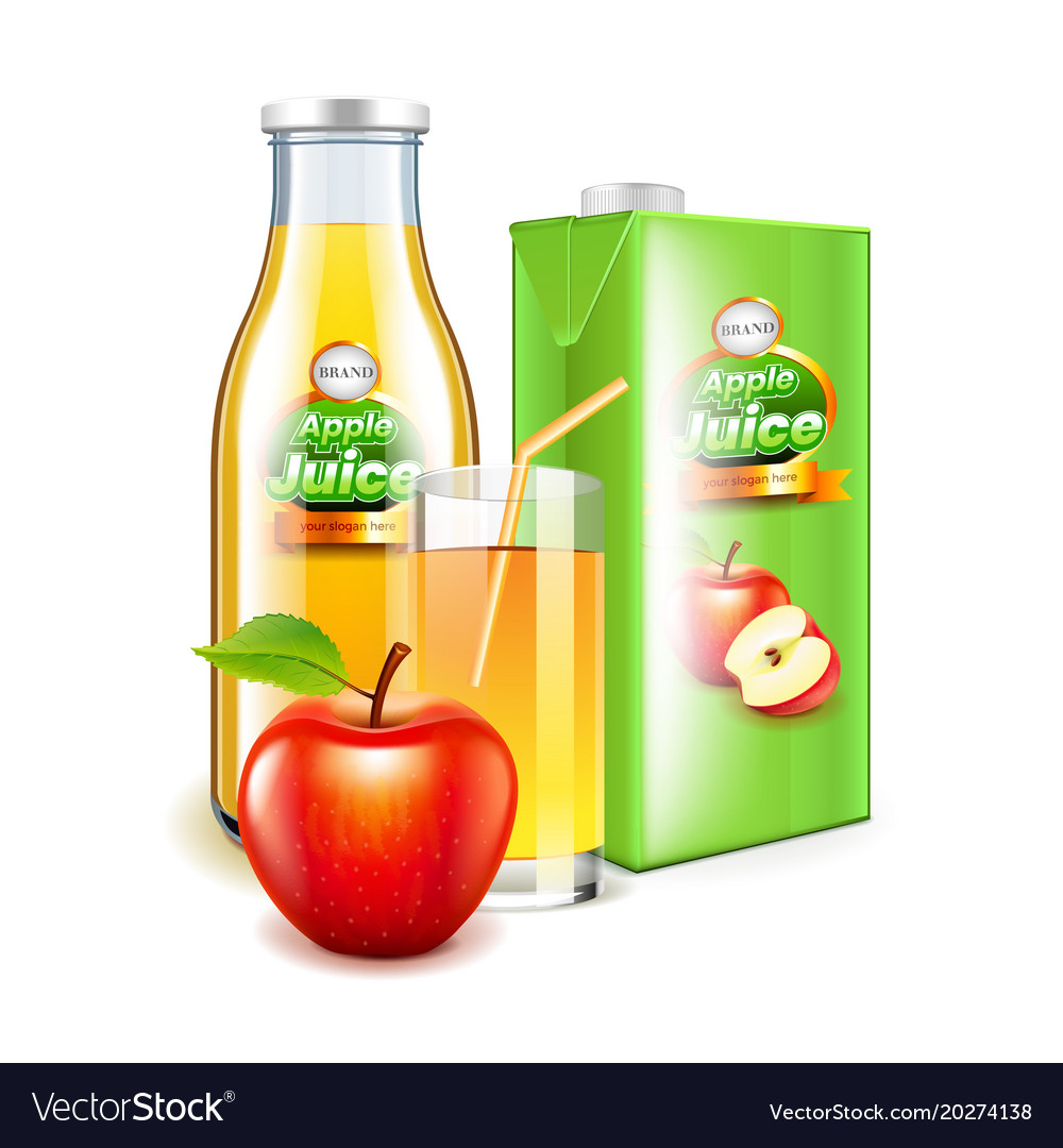 Apple juice in glass bottle and packaging 3d