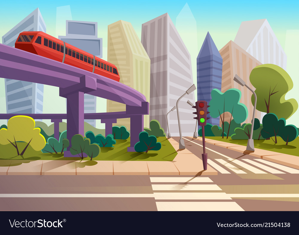 Cartoon modern city panorama with glass