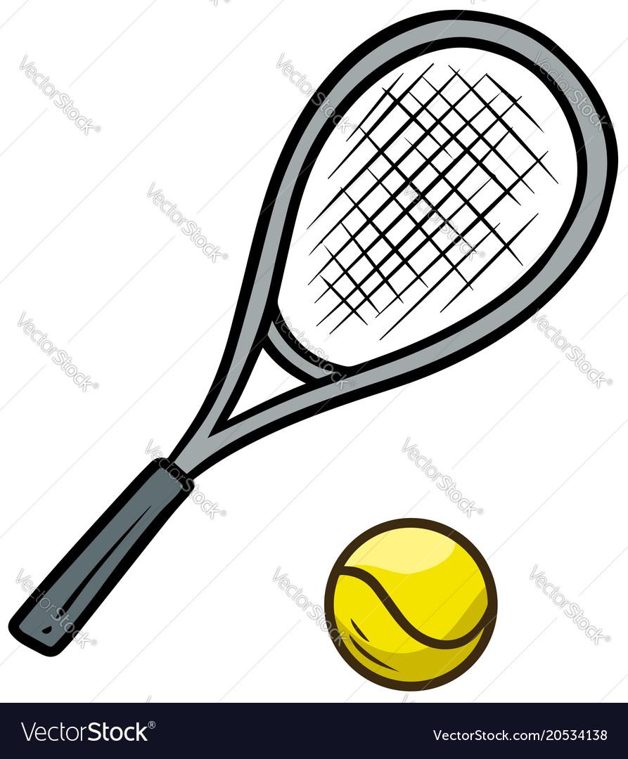 Cartoon Tennis Racket And Yellow Ball Royalty Free Vector