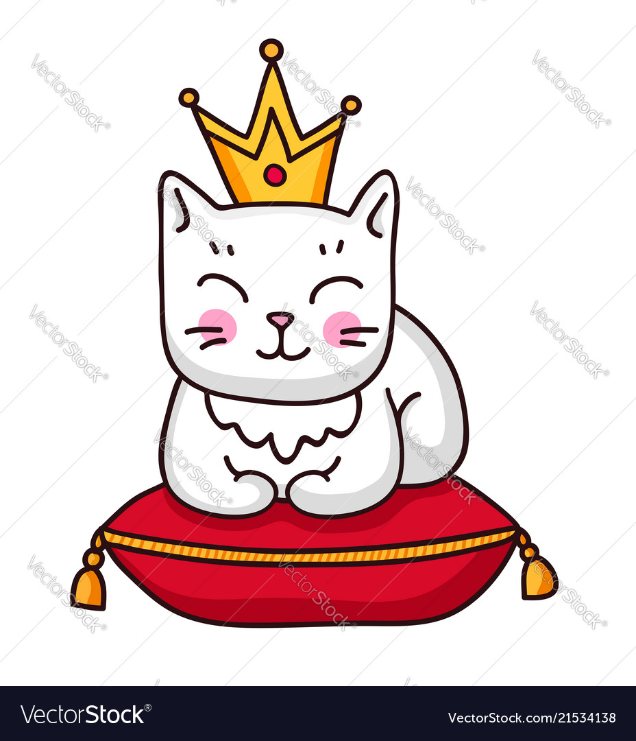 Cute white cat with crown on a red royal pillow
