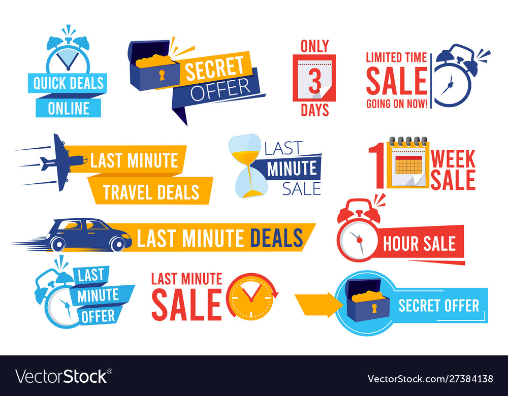 Discount badges advertizing promo offers last