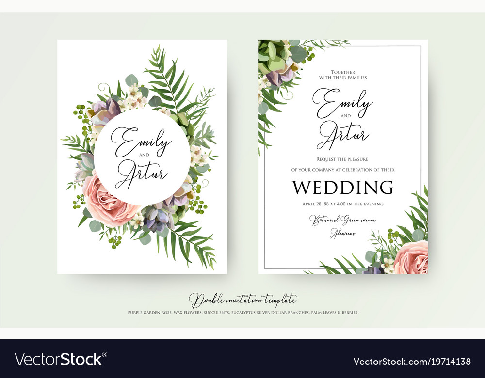 Invitation Cards For Wedding: Elegant Floral Wedding Invitation Card Design Vector Image