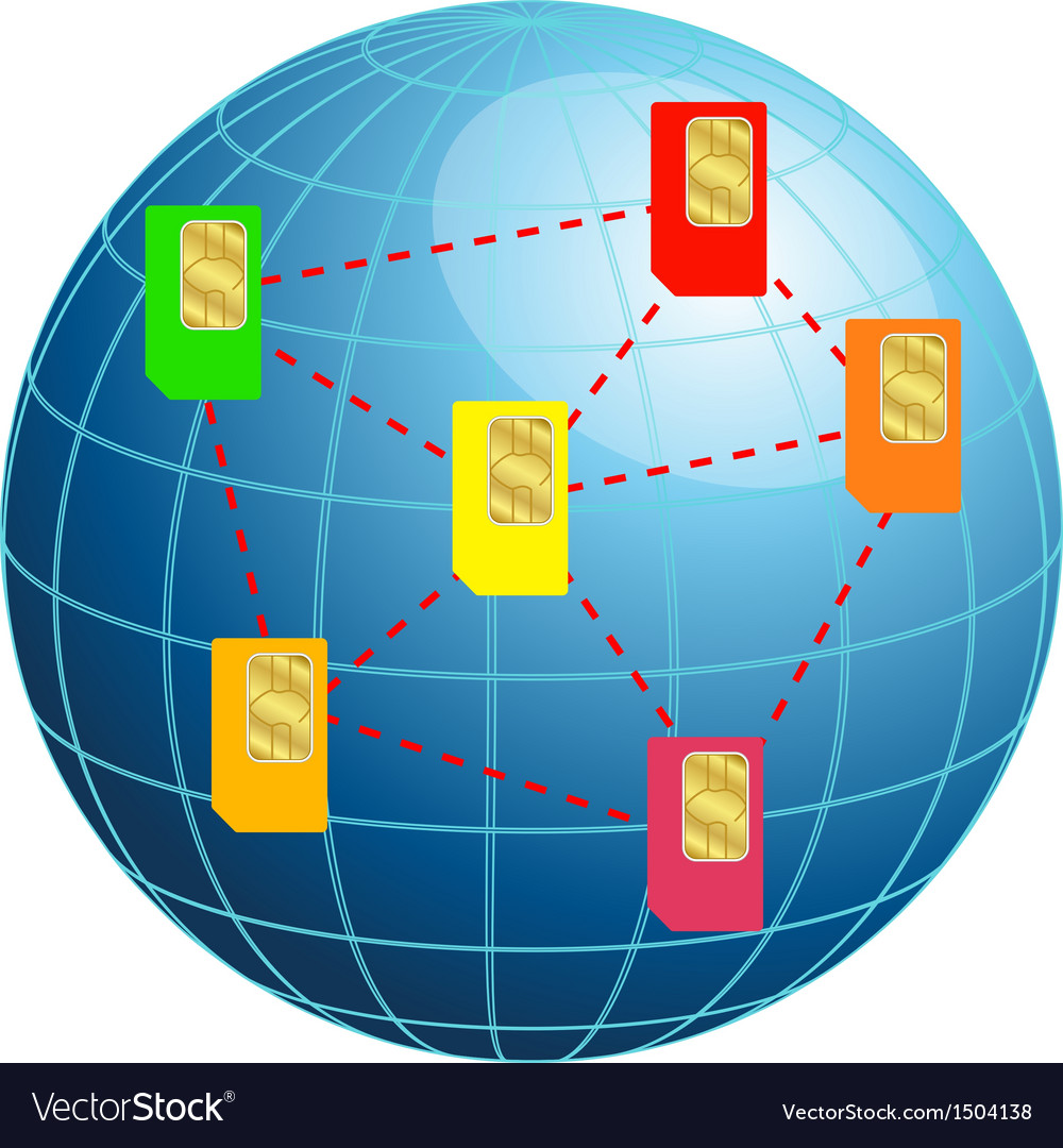 Globe with sim cards vector image
