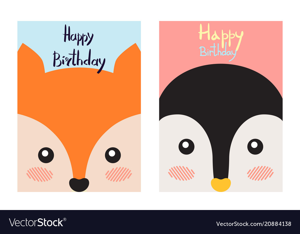 Happy birthday cards set