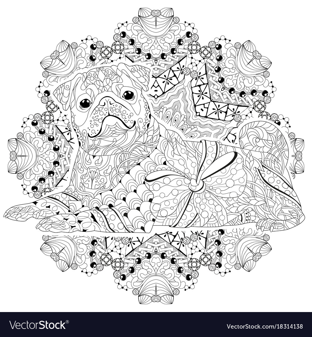 Mandala with dog for coloring decorative