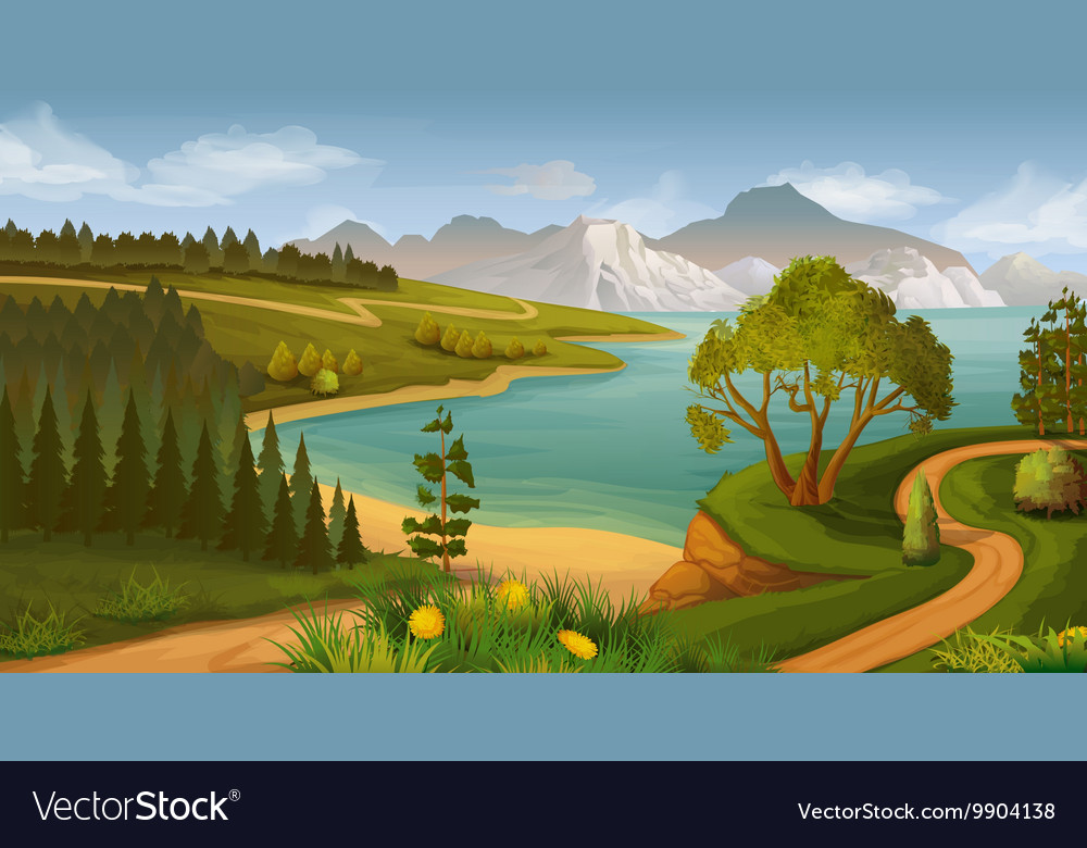 Nature landscape sea bay background vector image