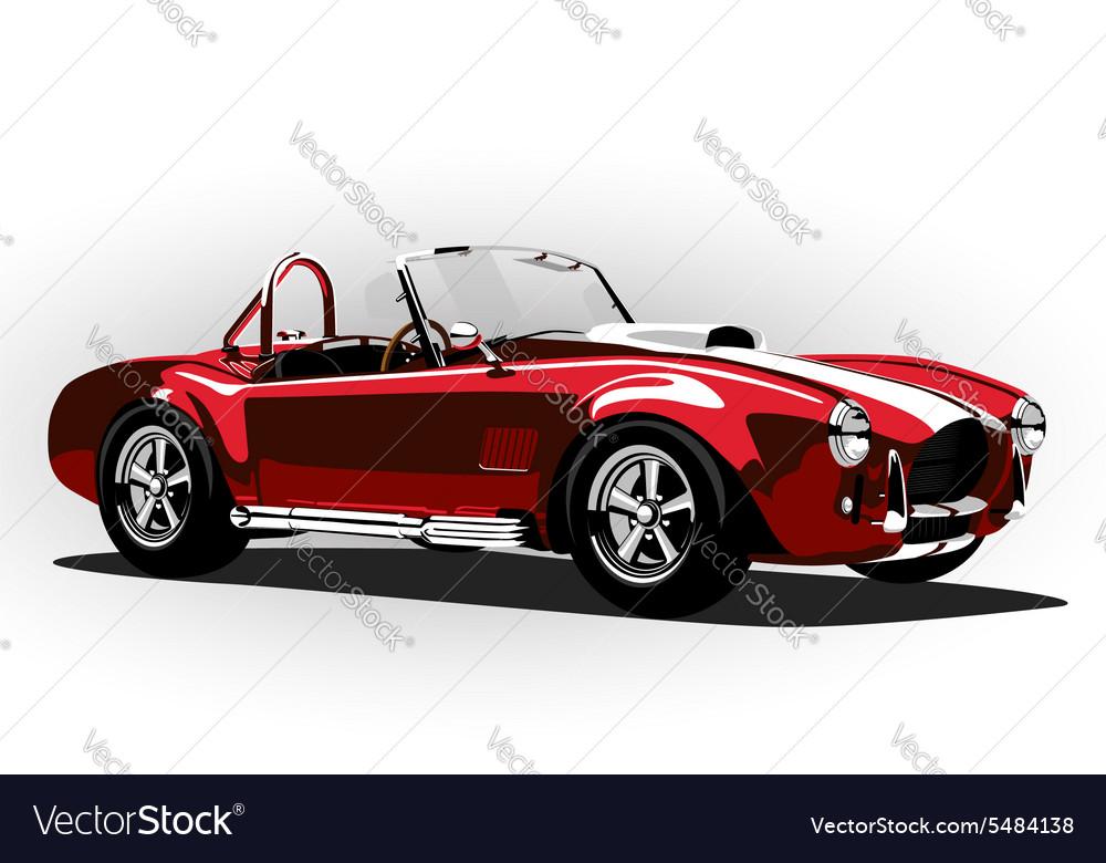 Red classic sport car cobra roadster