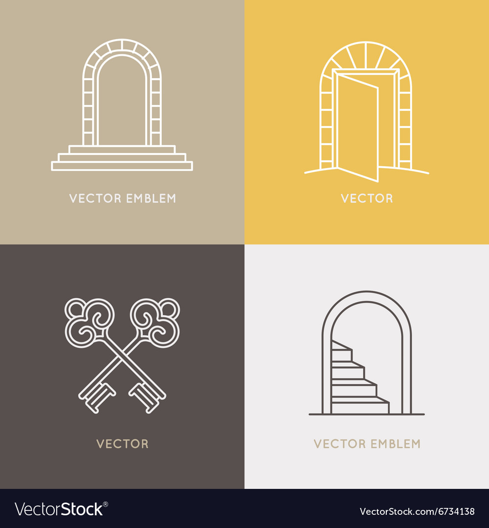 Set of logo design templates and emblems in trendy