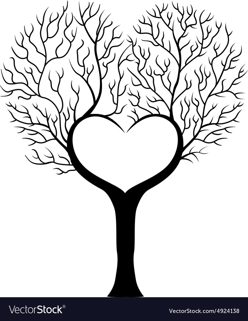 Tree branch in shape of heart Royalty Free Vector Image