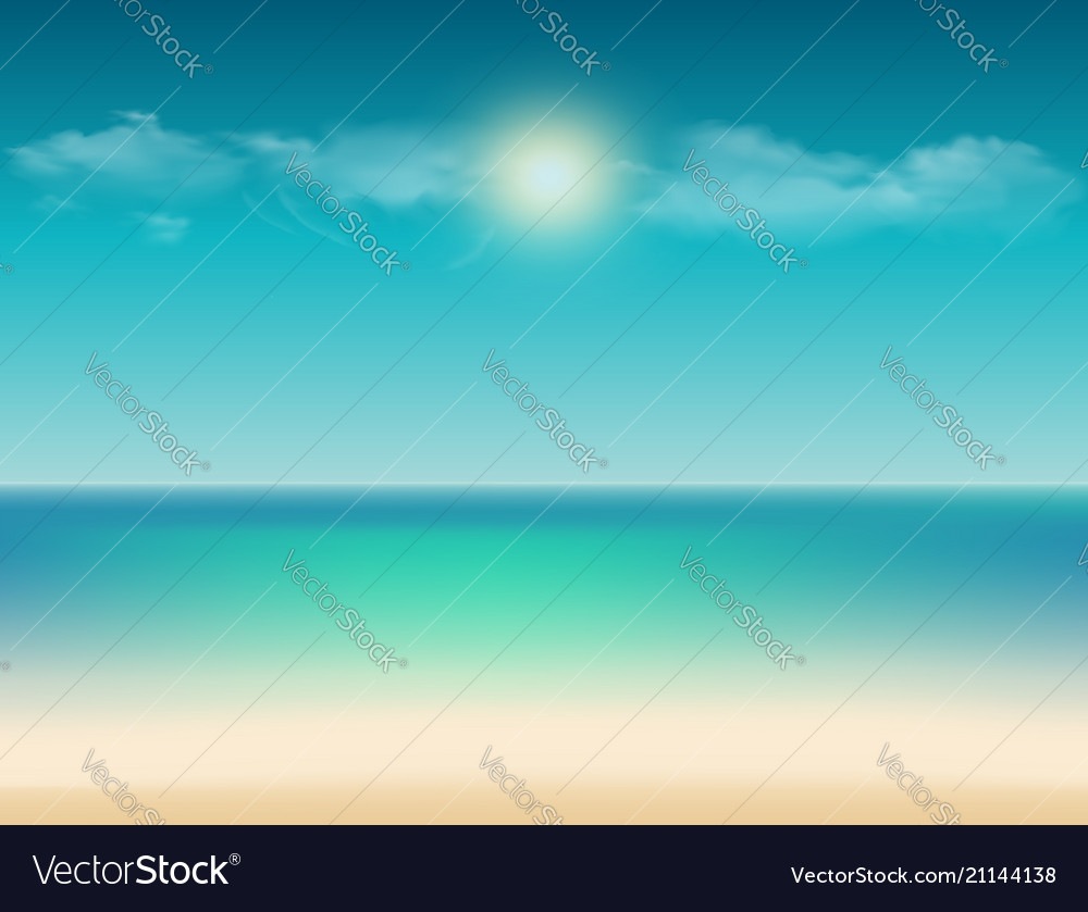 Tropical with ocean view sandy beach sky and copy