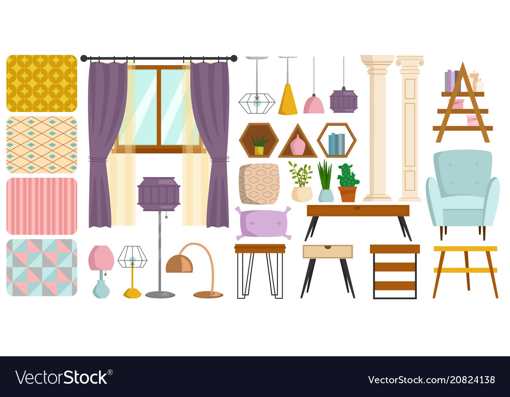 Vintage interior furniture rich wealthy house vector image