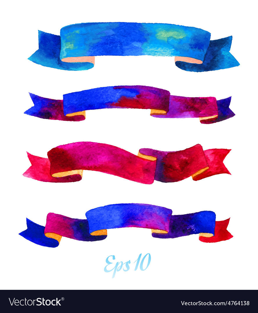 Watercolors ribbons and banners for text