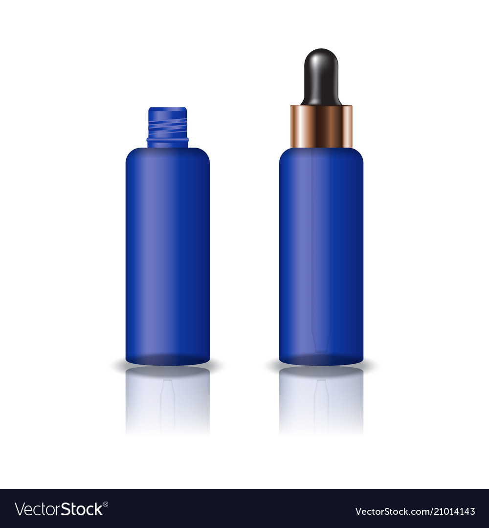 Blue clear cosmetic round bottle with dropper lid