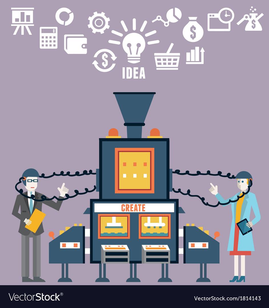 Businessman and businesswoman create ideas vector image