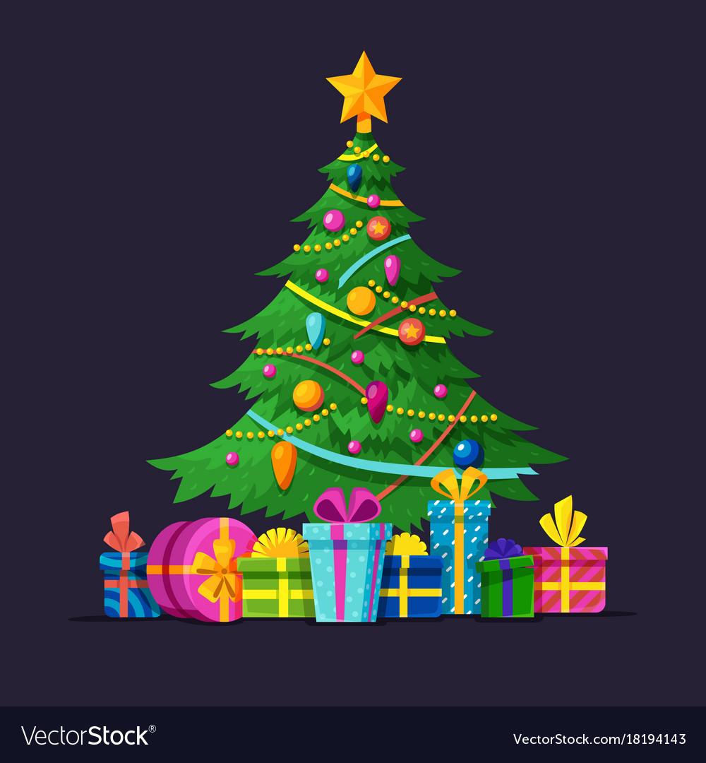 Christmas tree with bulbs gifts and xmas balls