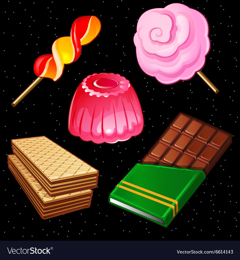 Compositions of sweets five different icons