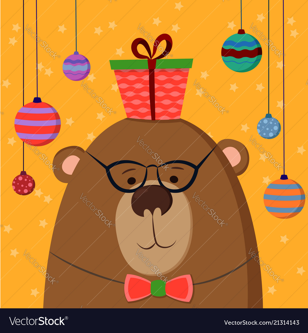Cute hand drawn card as funny bear with gift and