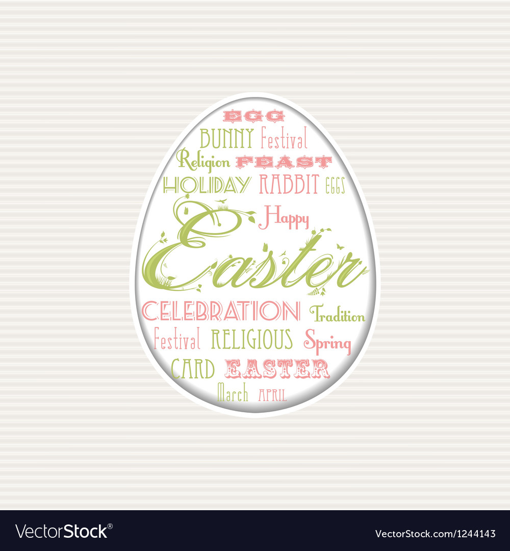 Easter egg typographical background vector image