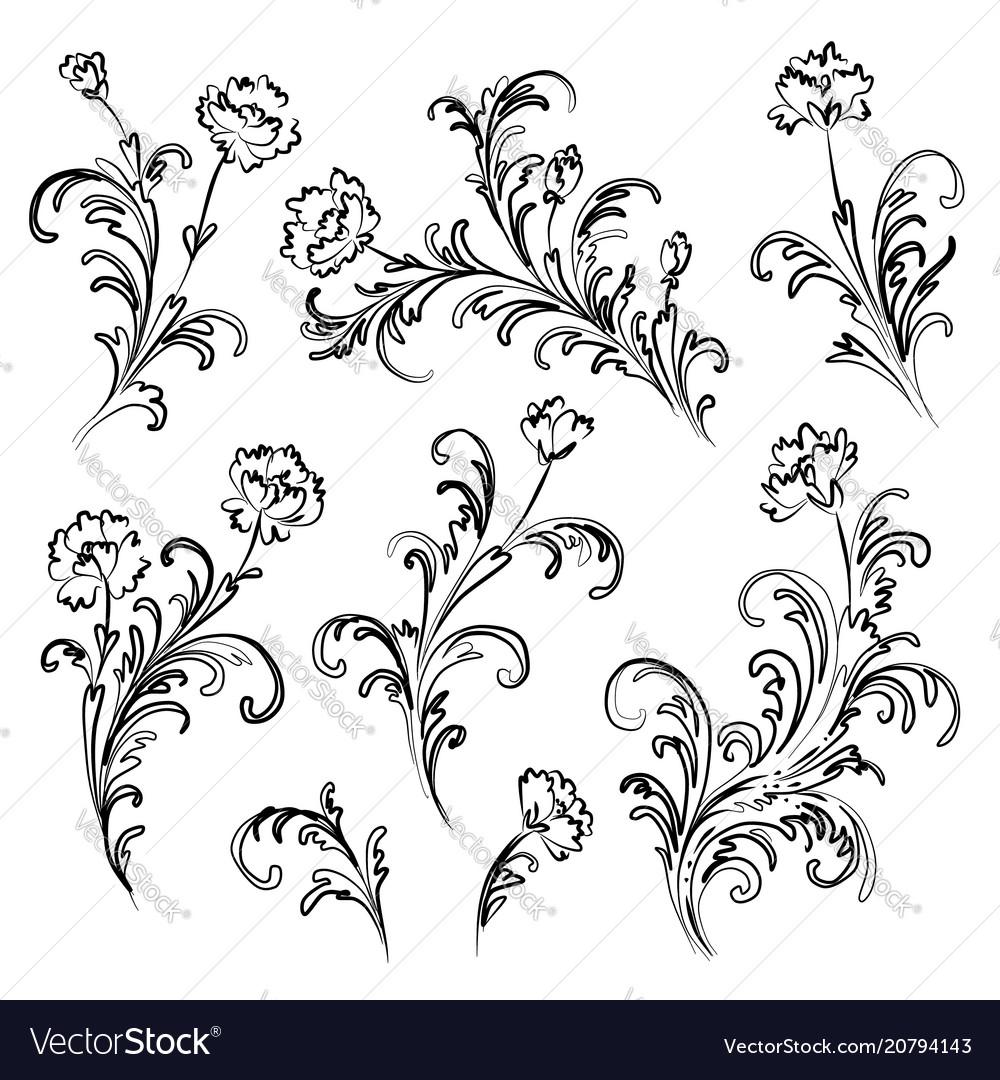Floral branches set