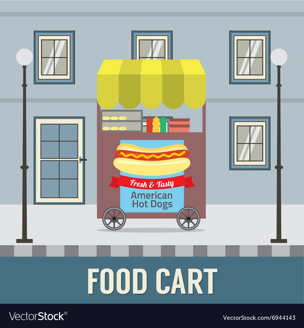 Food Cart In Front Of Vintage Building Ill