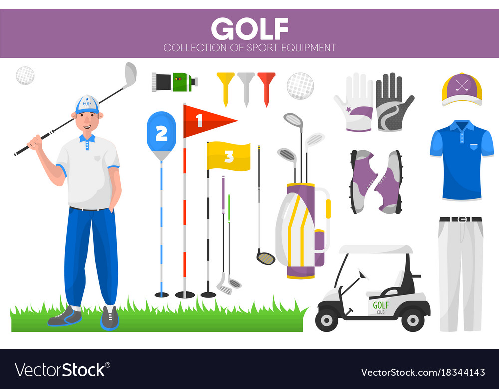 Golf sport equipment golfer player garment vector image