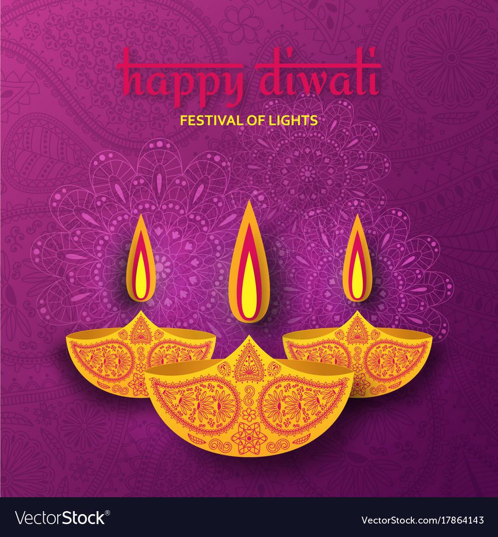 Greeting card for diwali festival celebration in vector image m4hsunfo