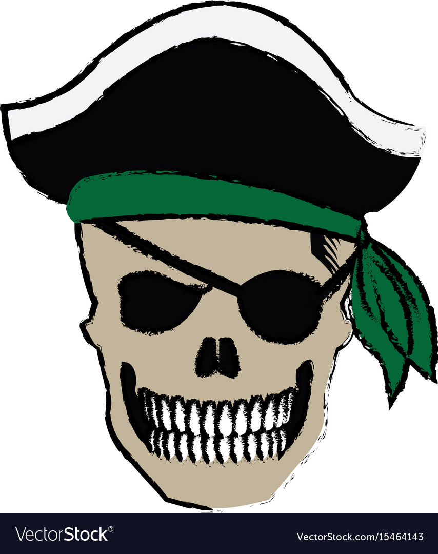 Pirate skull wearing a pirate captains hat and an