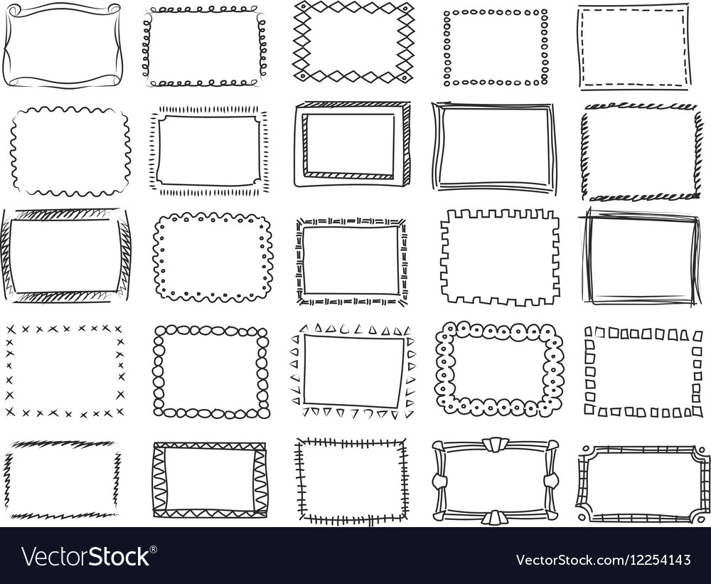 Simple doodle sketch square frames