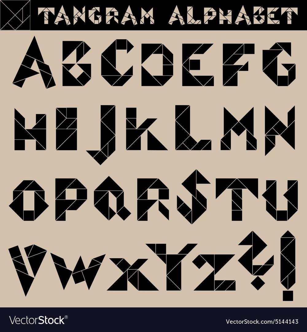 Tangram Alphabet Black