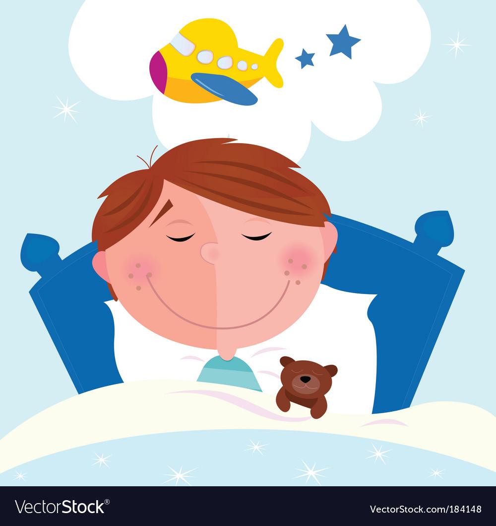 Cartoon boy sleeping vector image