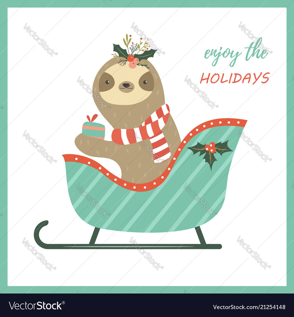 Christmas Sloth.Christmas Sloth Sitting In The Sledge