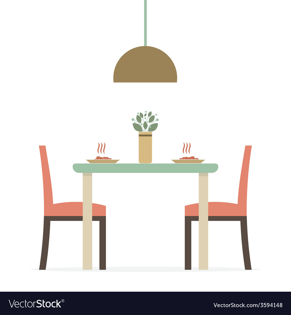 High Quality Flat Design Interior Dining Room Vector Image