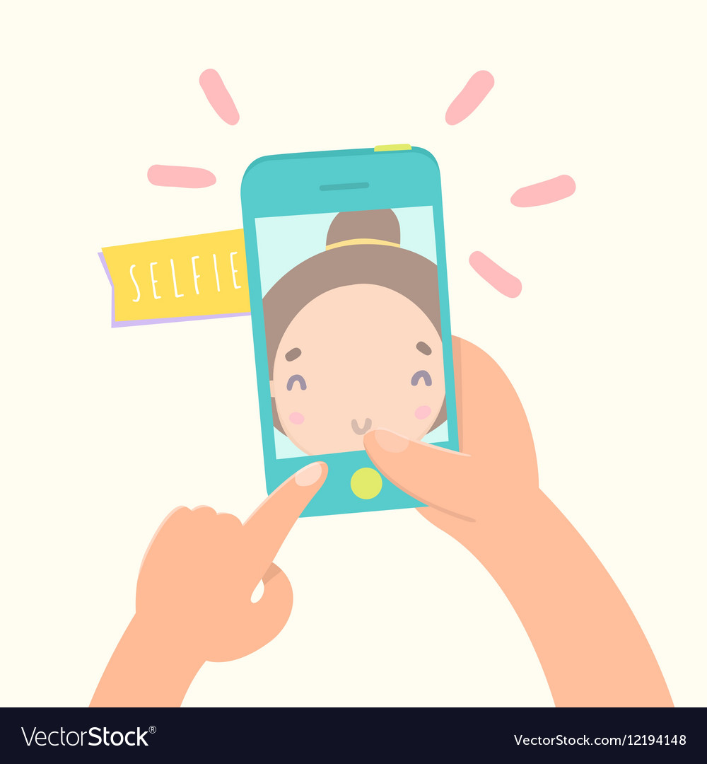 Girl making selfie with her smartphone
