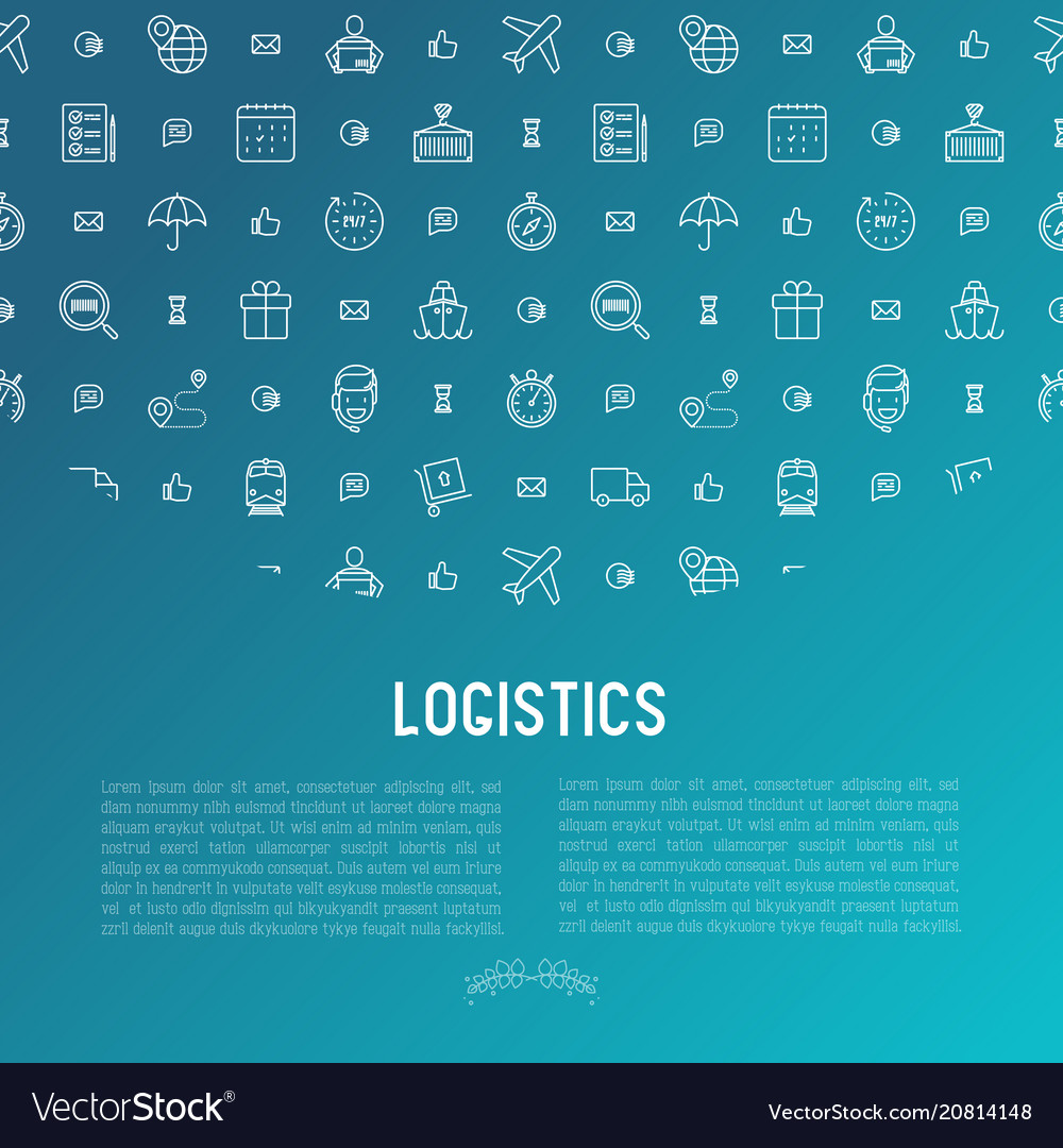 Logistics concept with thin line icons