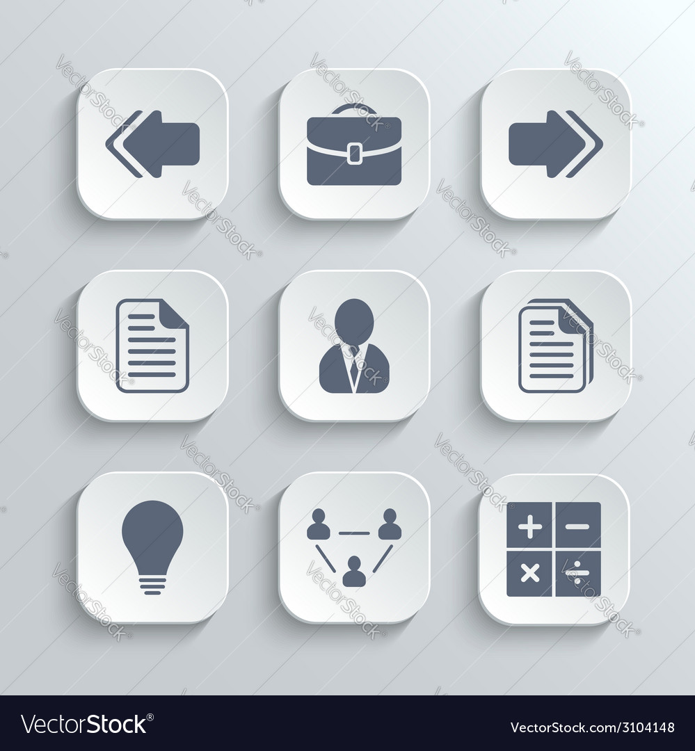 Office icons set - white app buttons