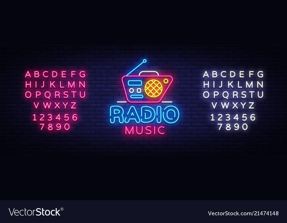 Radio music neon logo radio night neon