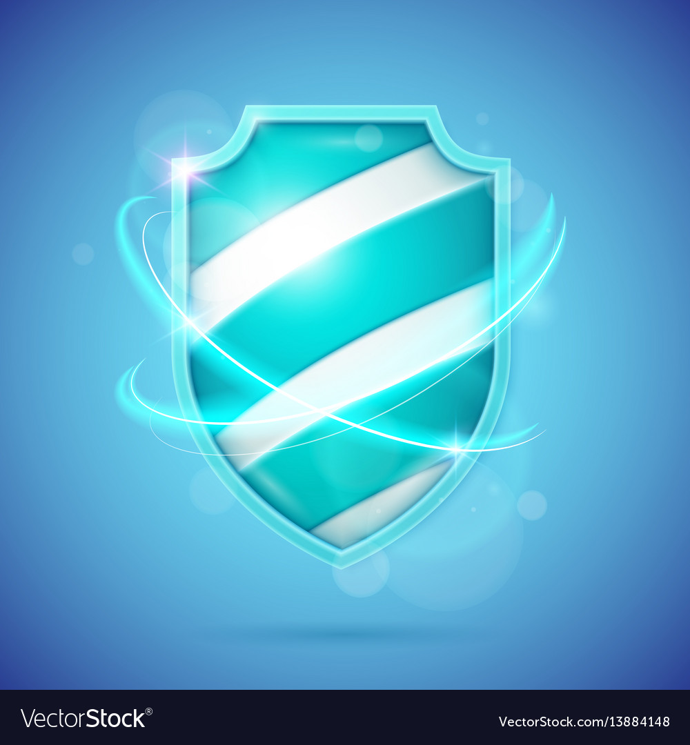 Realistic shield a symbol of protection and vector image
