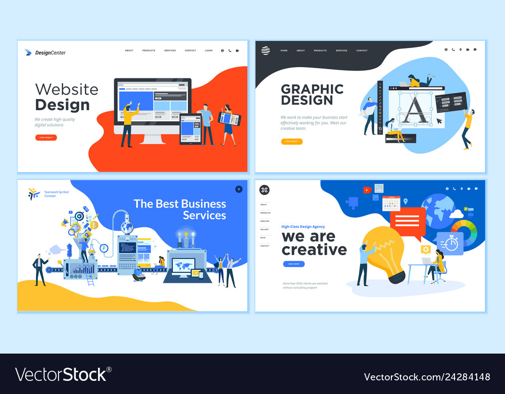 Set Of Flat Design Web Page Templates Royalty Free Vector