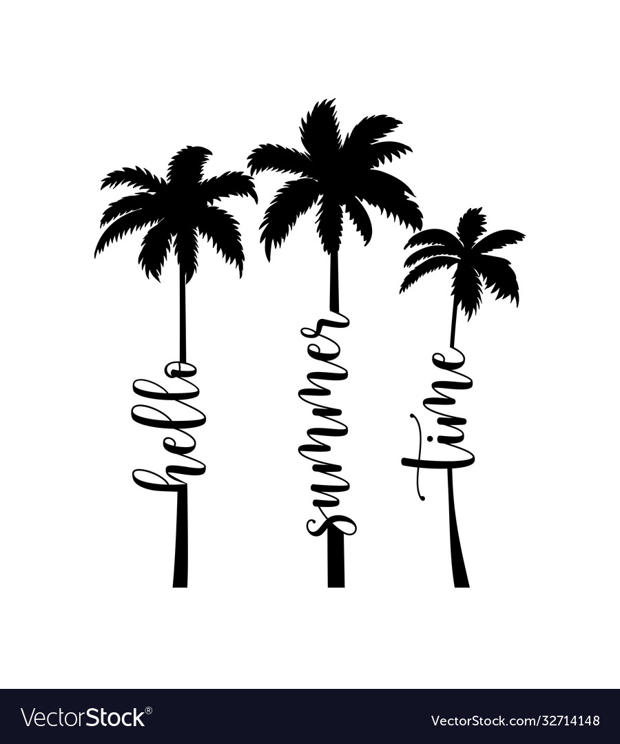 Summer handwritten word and palms