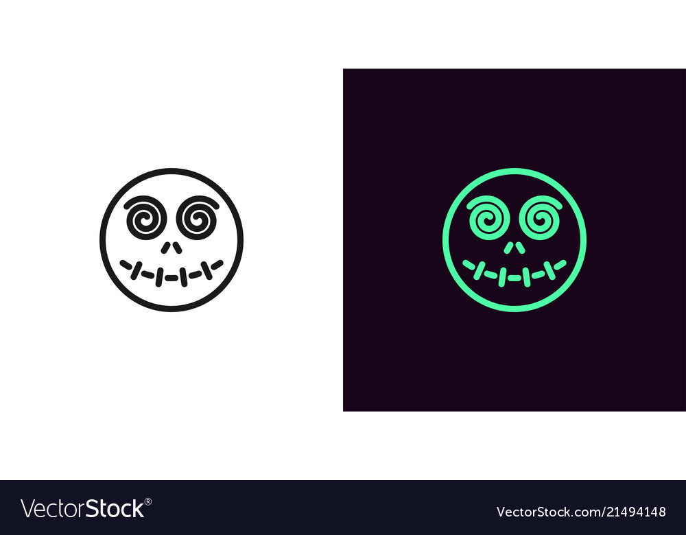 Zombie head in outline style