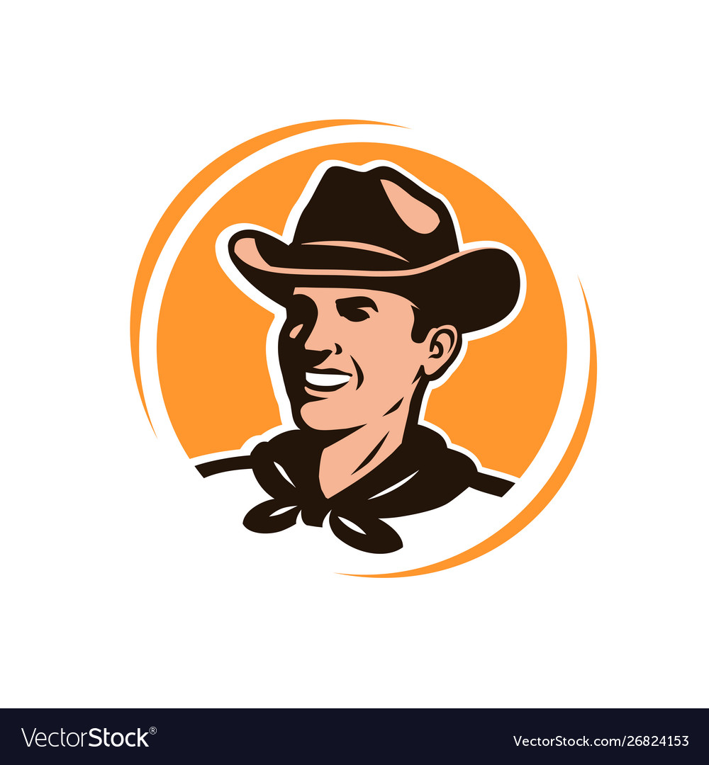 American cowboy in a hat logo or emblem