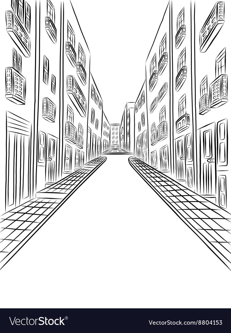Buildings in town drawing
